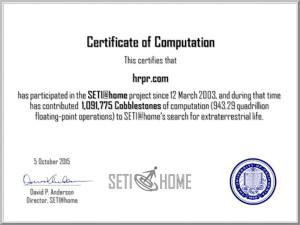 SETI@Home - 1,091,775 Cobblestones